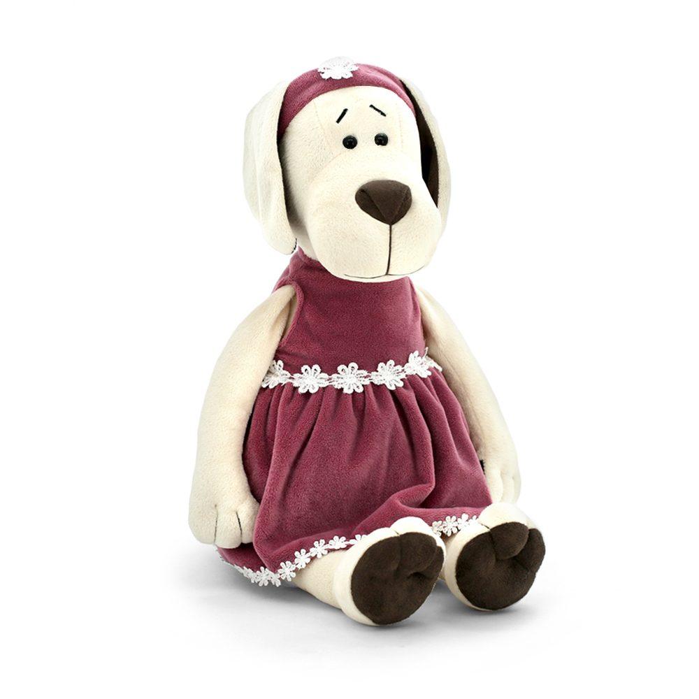 Собачка Лапуська в бархатном платье 20см