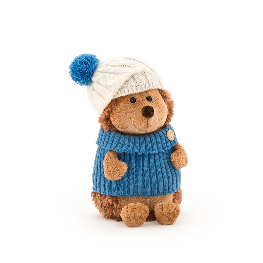 Ежик колюнчик в шапке с голубым помпоном 20см