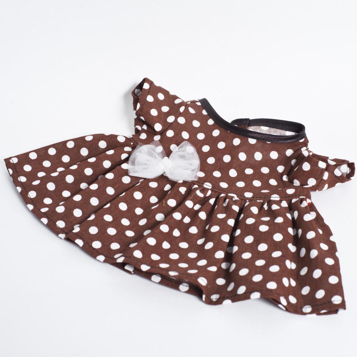 Платье коричневое в горошек с бантиком