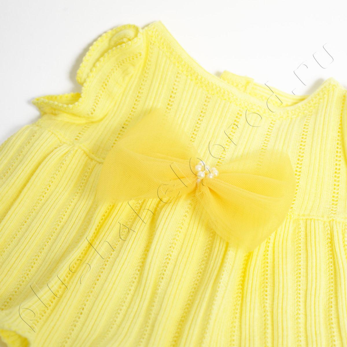 Платье желтое с бантом