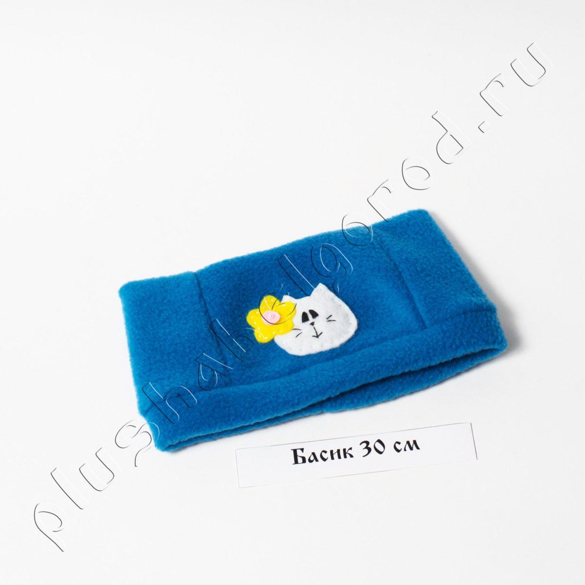 Шапочка Голубая «котик с цветочком»