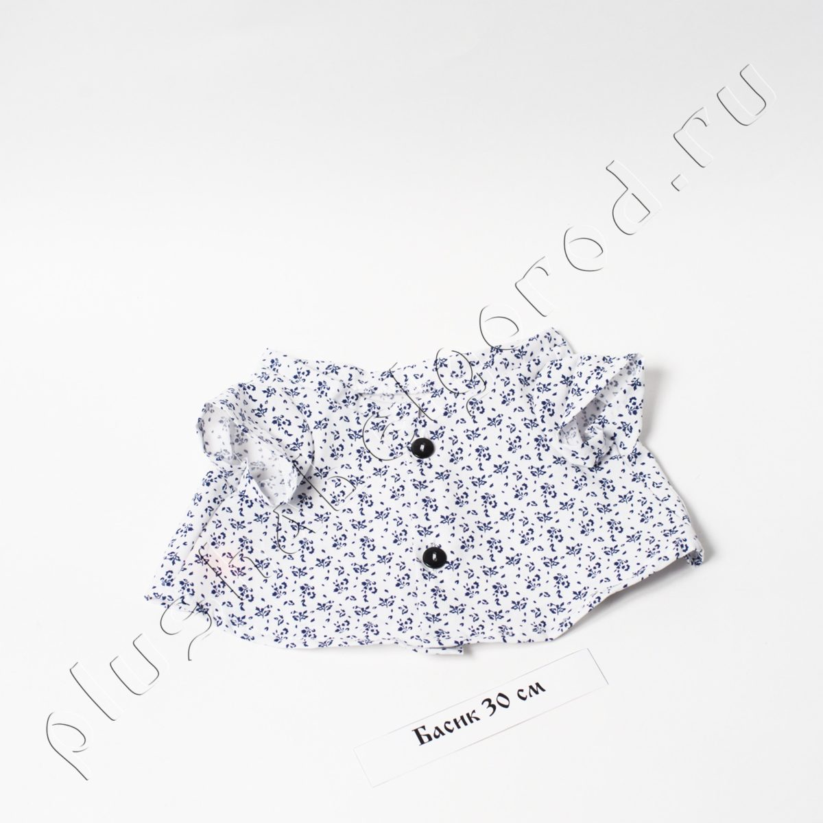Рубашка белая в синий цветочек(30)