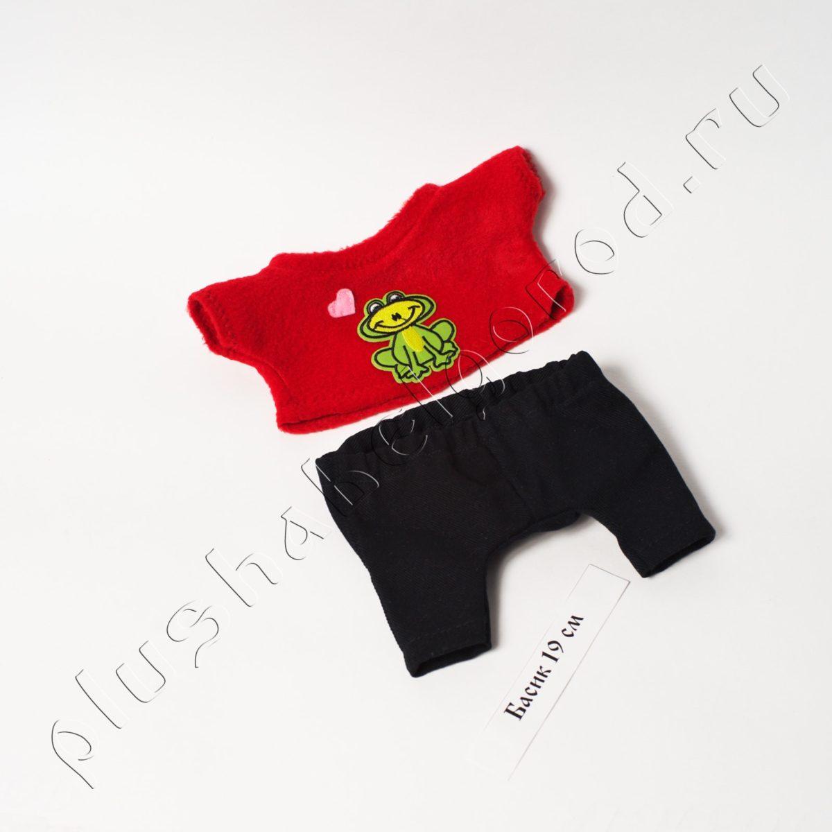 Джинсы чёрные и красная футболка с лягушкой(19см!)