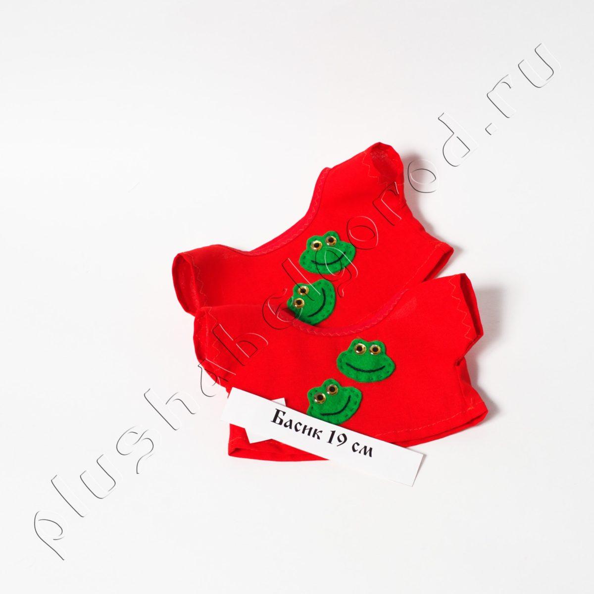 Футболка красная с лягушками для 19 см, цена за шт.