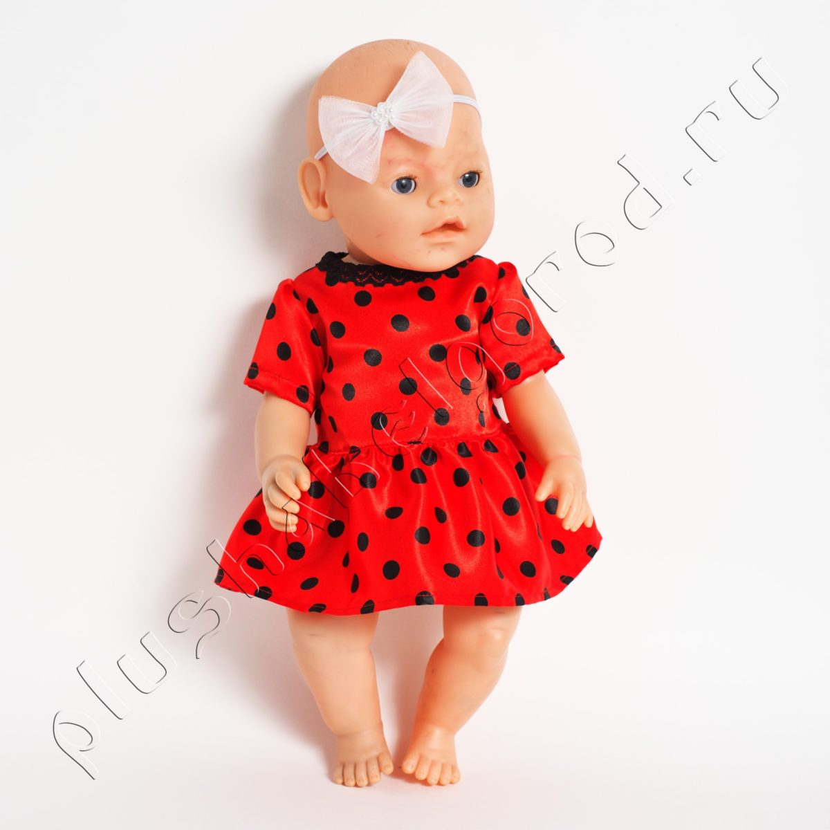 Платье красное в чёрный горошек и бантик на голову