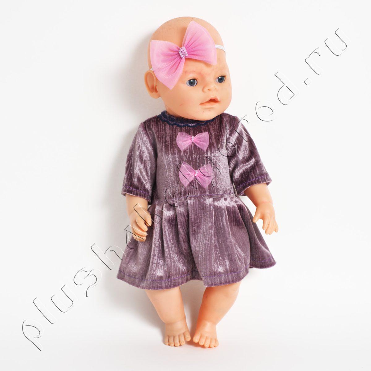 Платье бархатное розовое и бантик на голову
