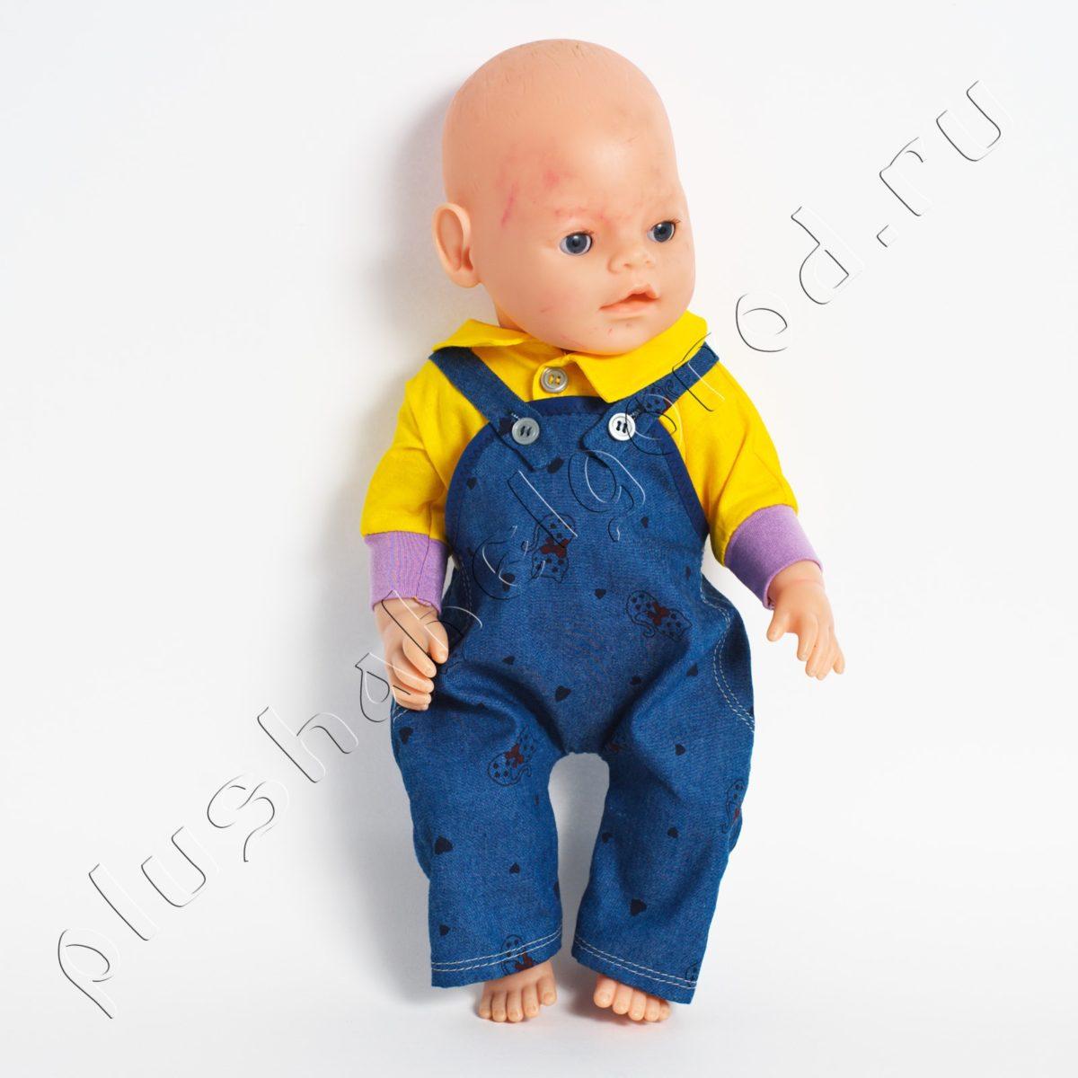 Комбинезон джинс тонкий и рубашка желтая