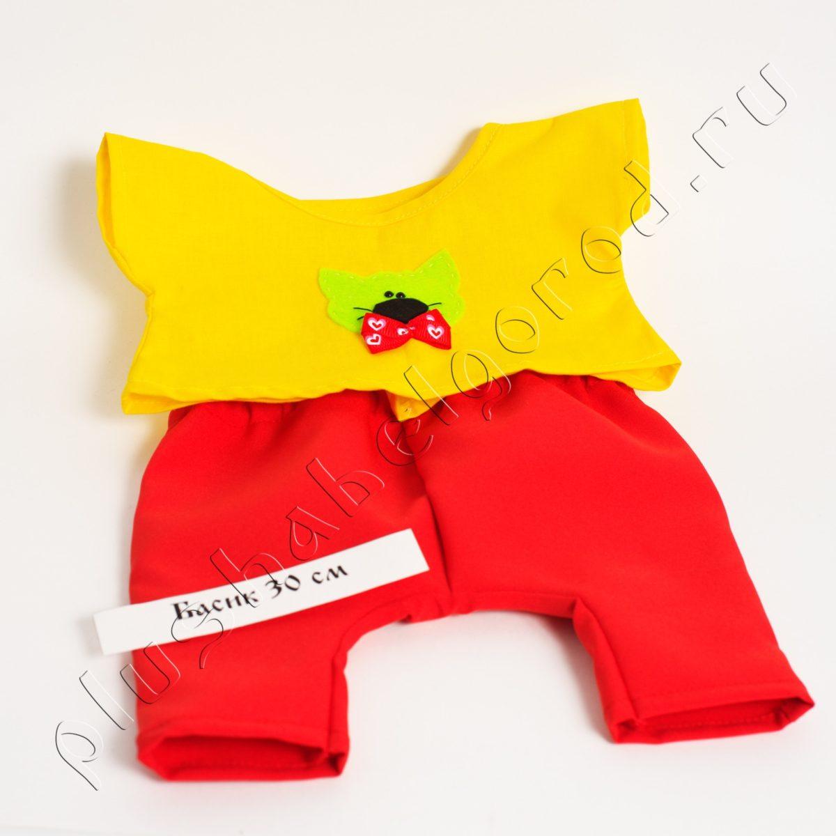 Брюки красные и футболка желтая с котиком