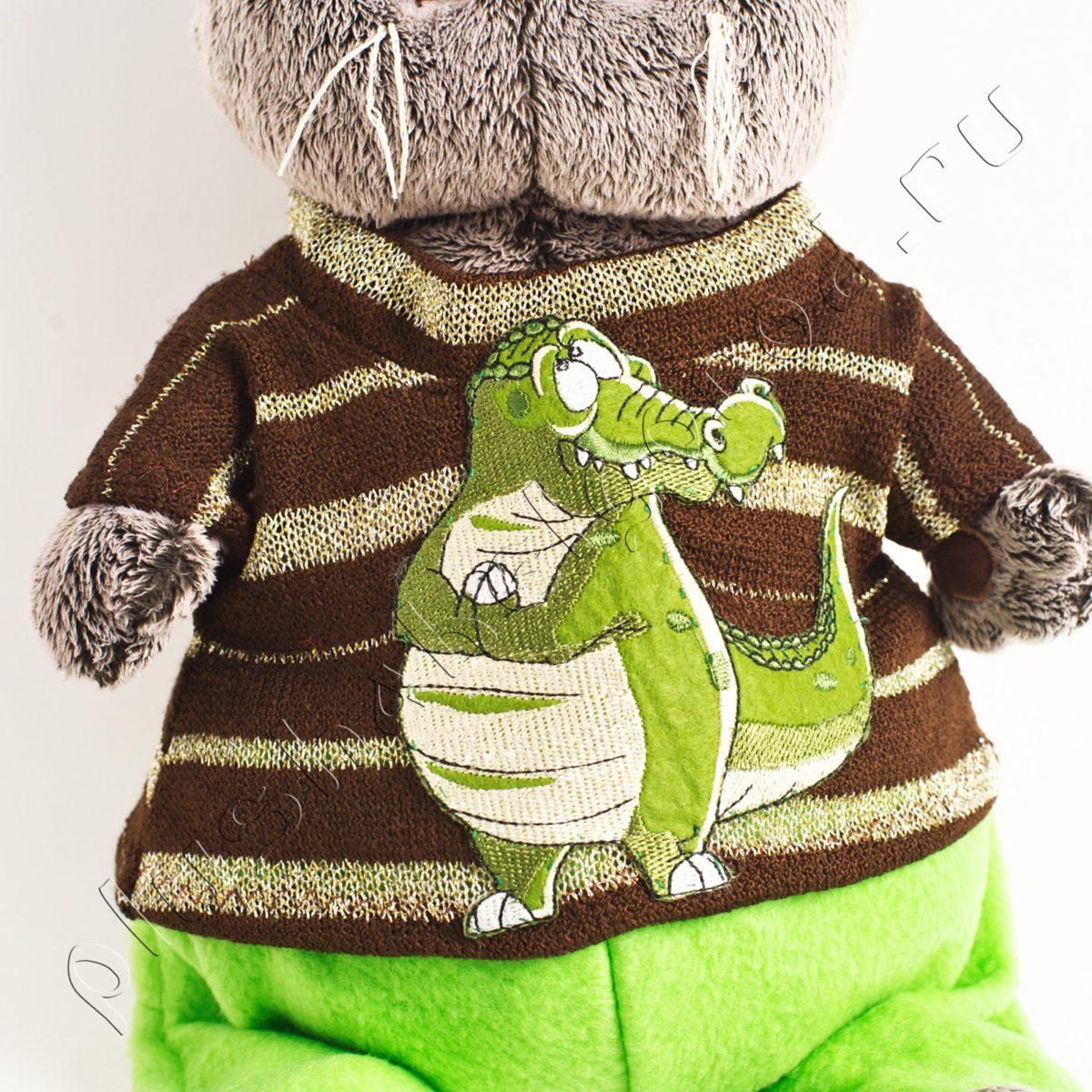 Брюки зеленые и кофточка с крокодилом