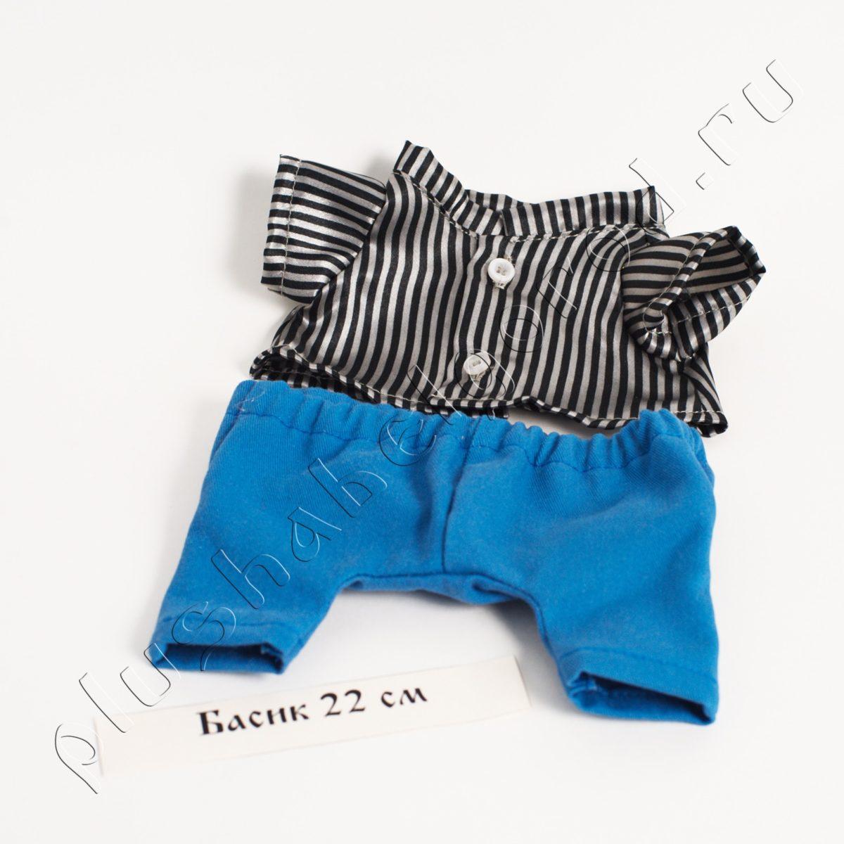 Акция! Выгода 100₽! Брюки голубые и рубашка в полоску (22)
