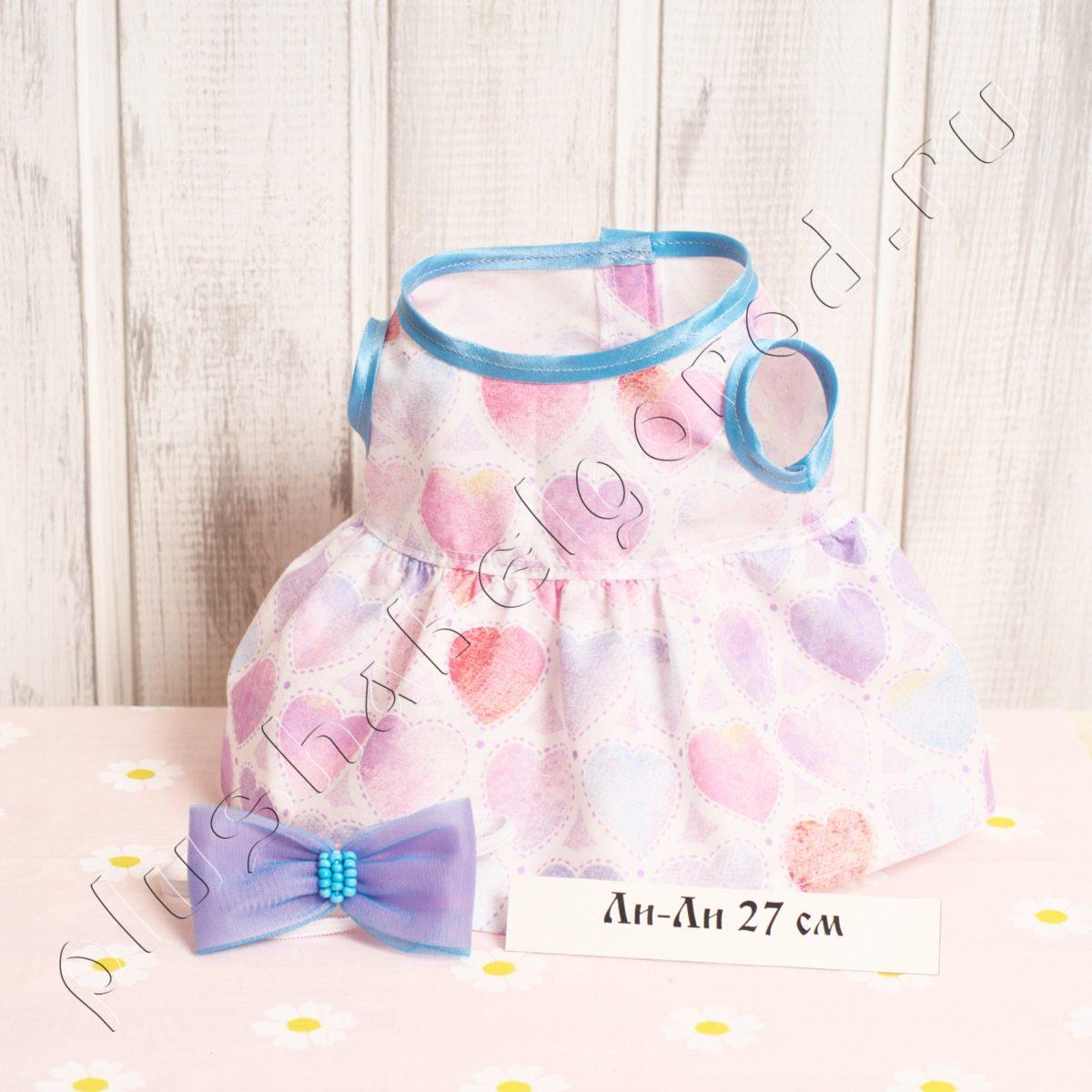 Платье с сердечками и бантик на голову