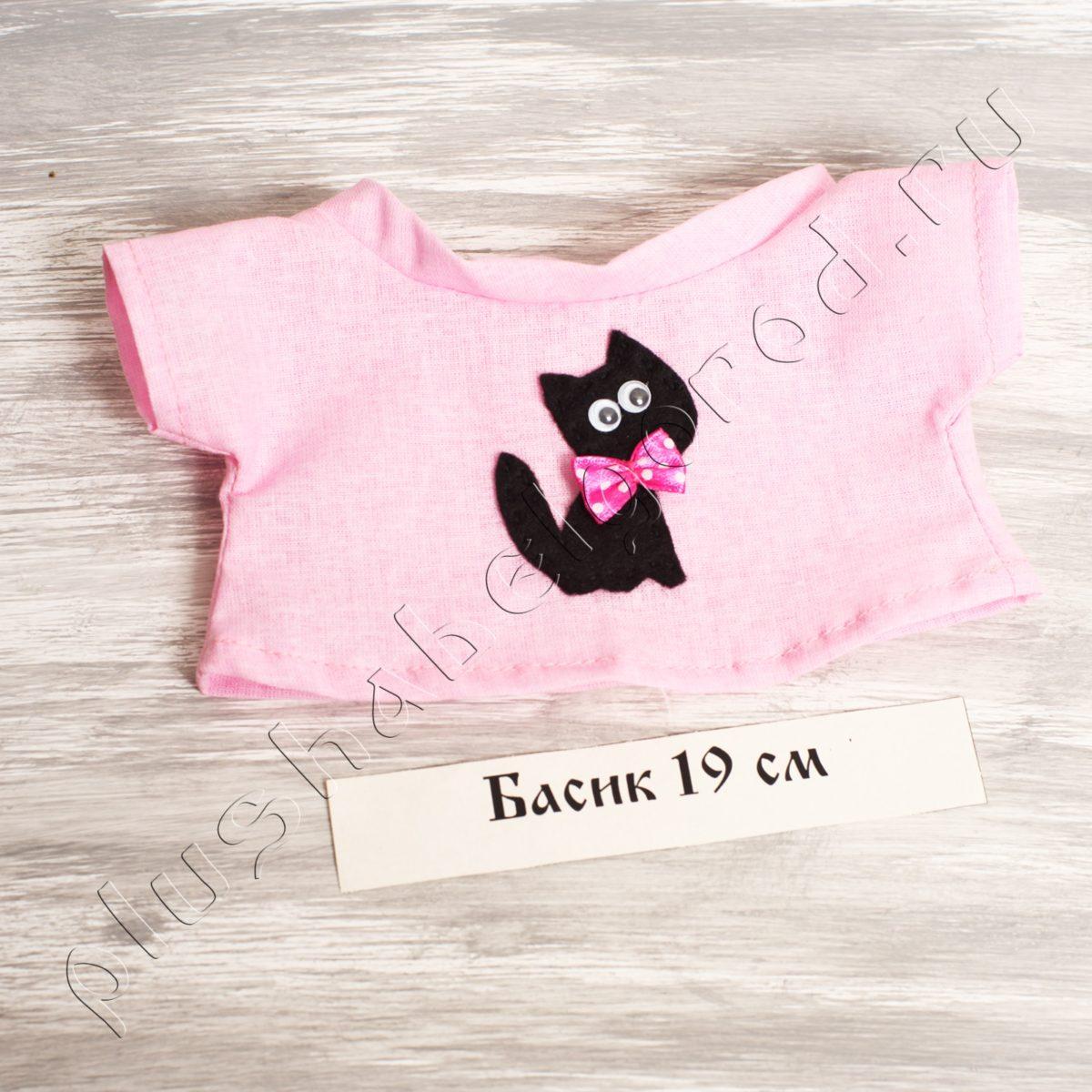 Футболка розовая с чёрным котом (19)
