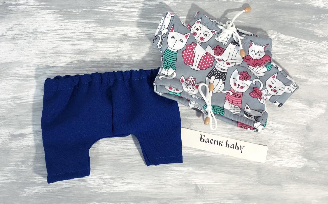 New! Брюки синие и футболка с котиками (baby)